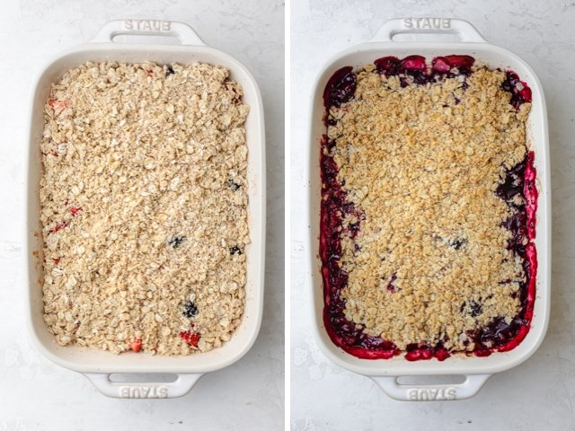 before and after baking shots of berry crisp in a white dish