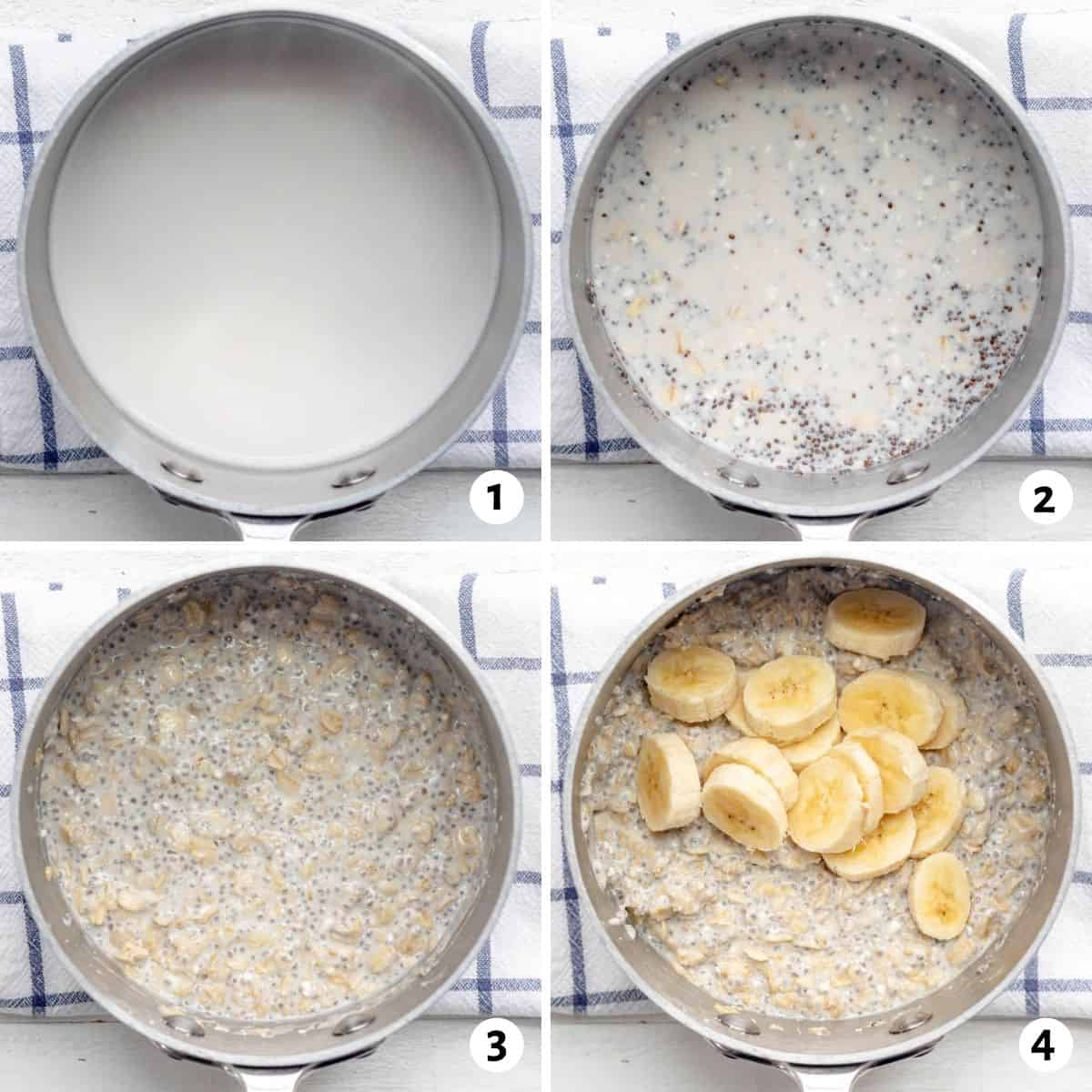 4 image collage to show how to make the protein oatmeal in a small stainless steel pot