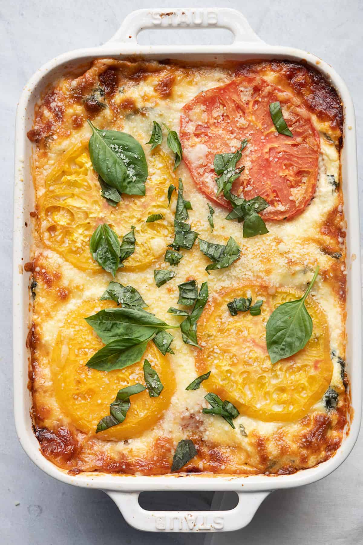 Heirloom Tomato Lasagna in a baking dish after cooked