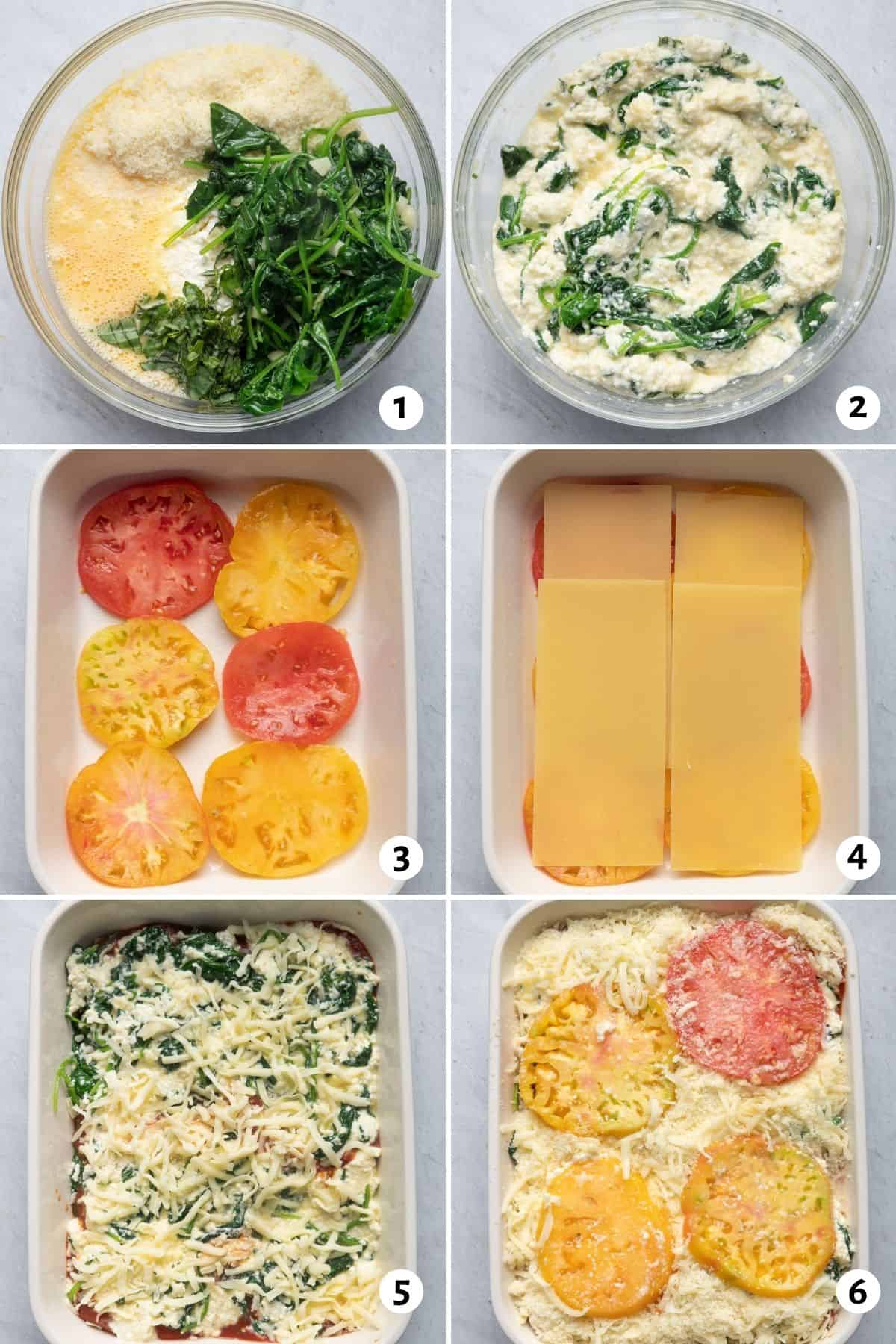 6 image collage to show the steps for making the recipe