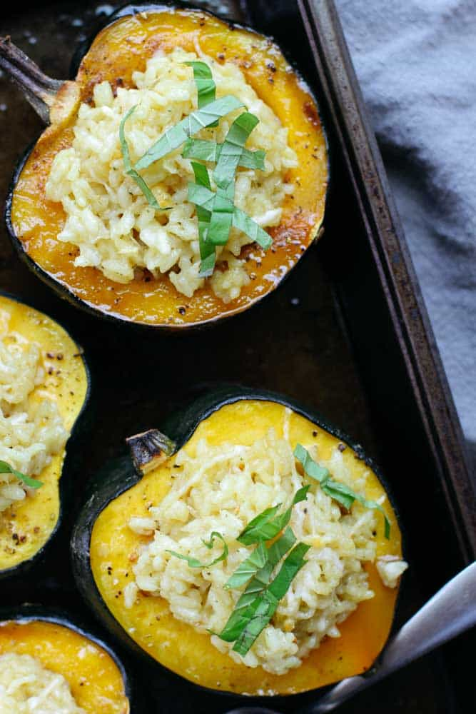 Parmesan risotto stuffed acorn squash after stuffing