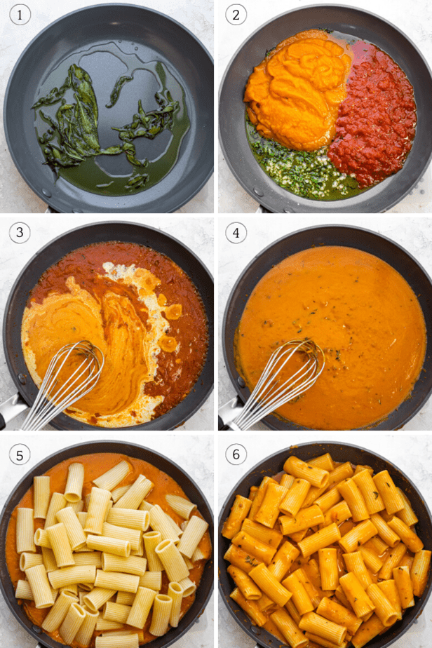 Process shots showing how to make the sauce and then adding the pasta on top and tossing it together