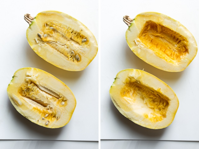 Collage of two images showing spaghetti squash halved before and after removing seeds