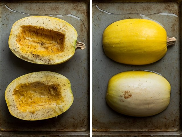 Collage of two images showing spaghetti squash halved face up with salt and pepper and then face down on a rimmed baking sheet with water