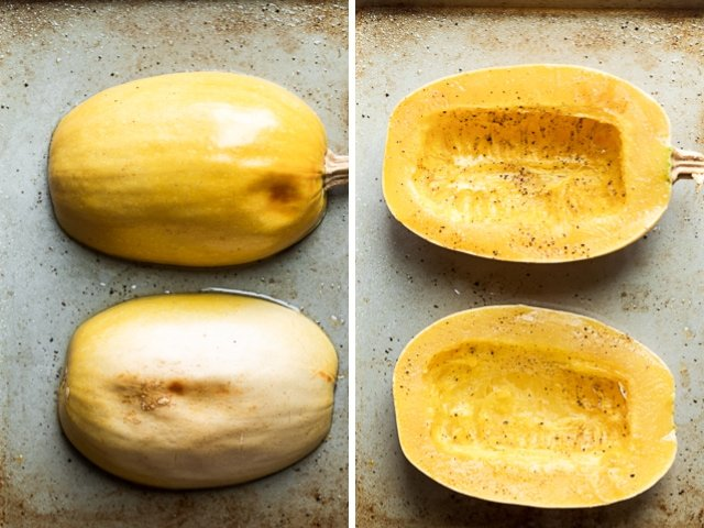Collage of two images showing spaghetti squash halved face down after done baking and then face up ready to be teased.
