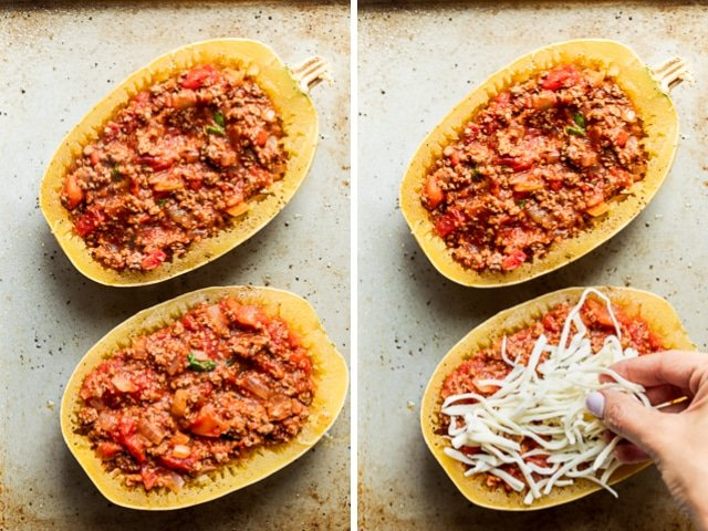 Collage of two images showing the lasagna sauce stuffed inside spaghetti squash and then the cheese being added