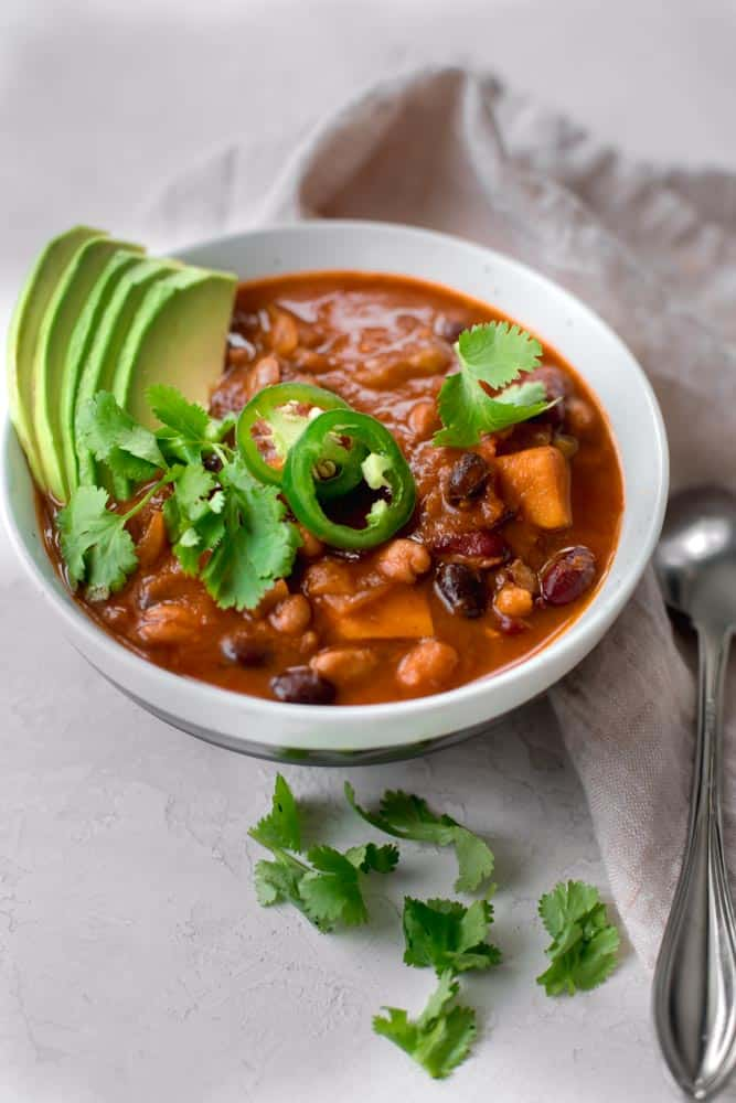side shot of Sweet Potato Chili in a bowl