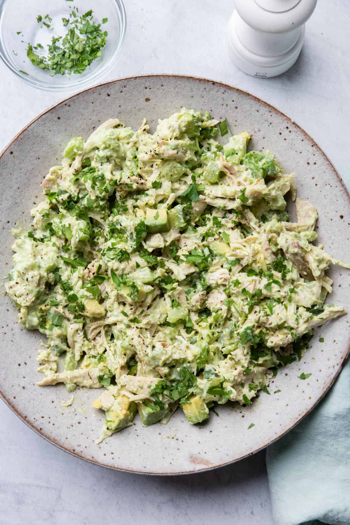Avocado chicken salad in a large bowl