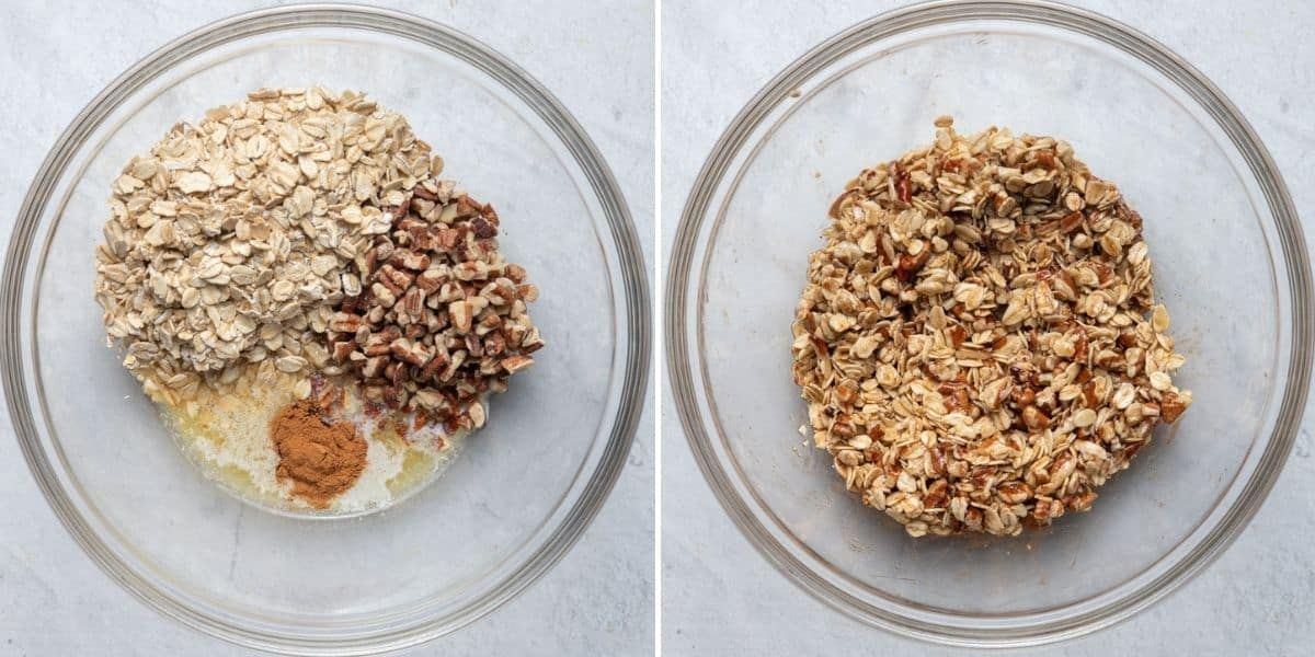 2 image collage to show the filling before and after mixing