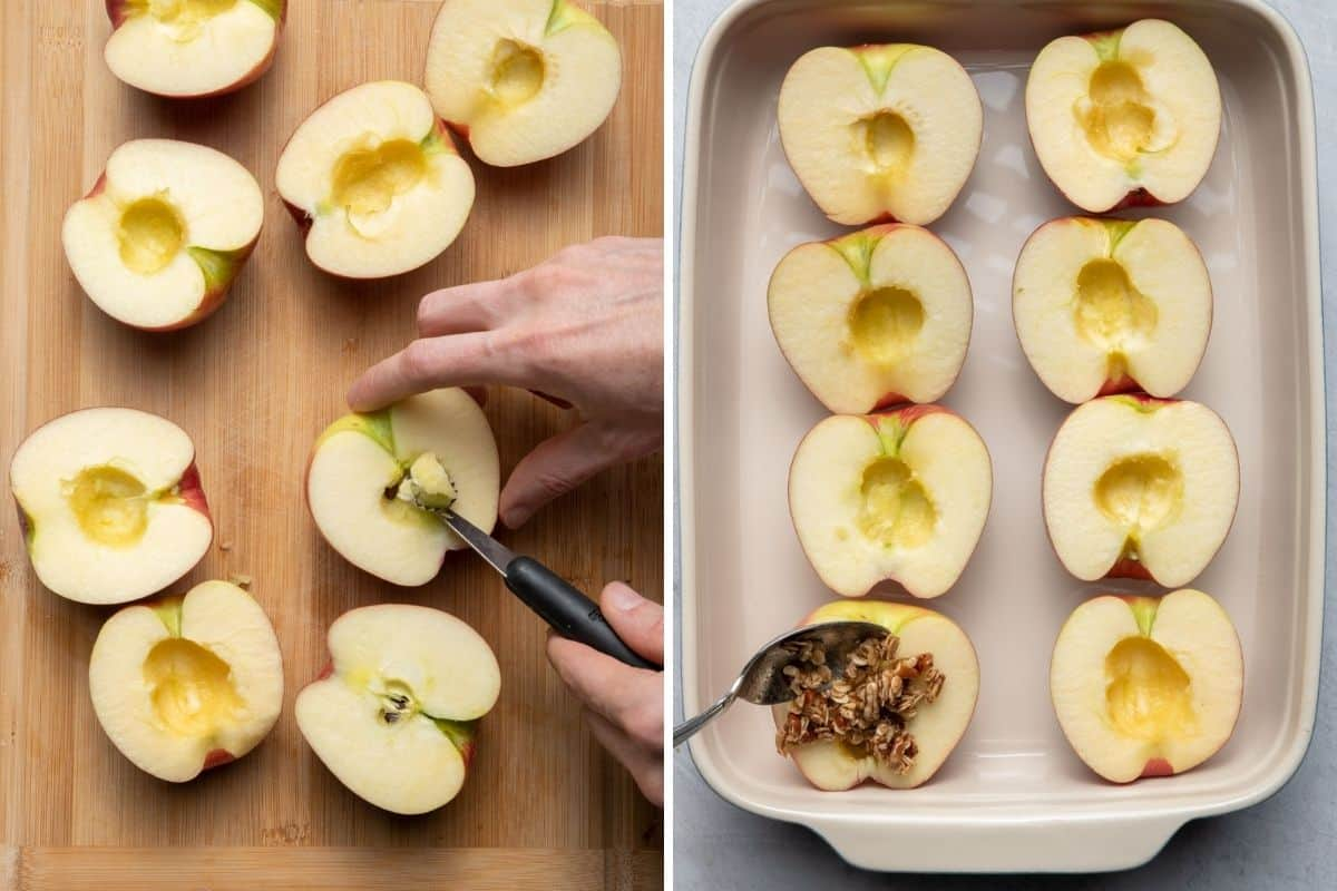 2 image collage to show how to core the apples and then how to stuff them