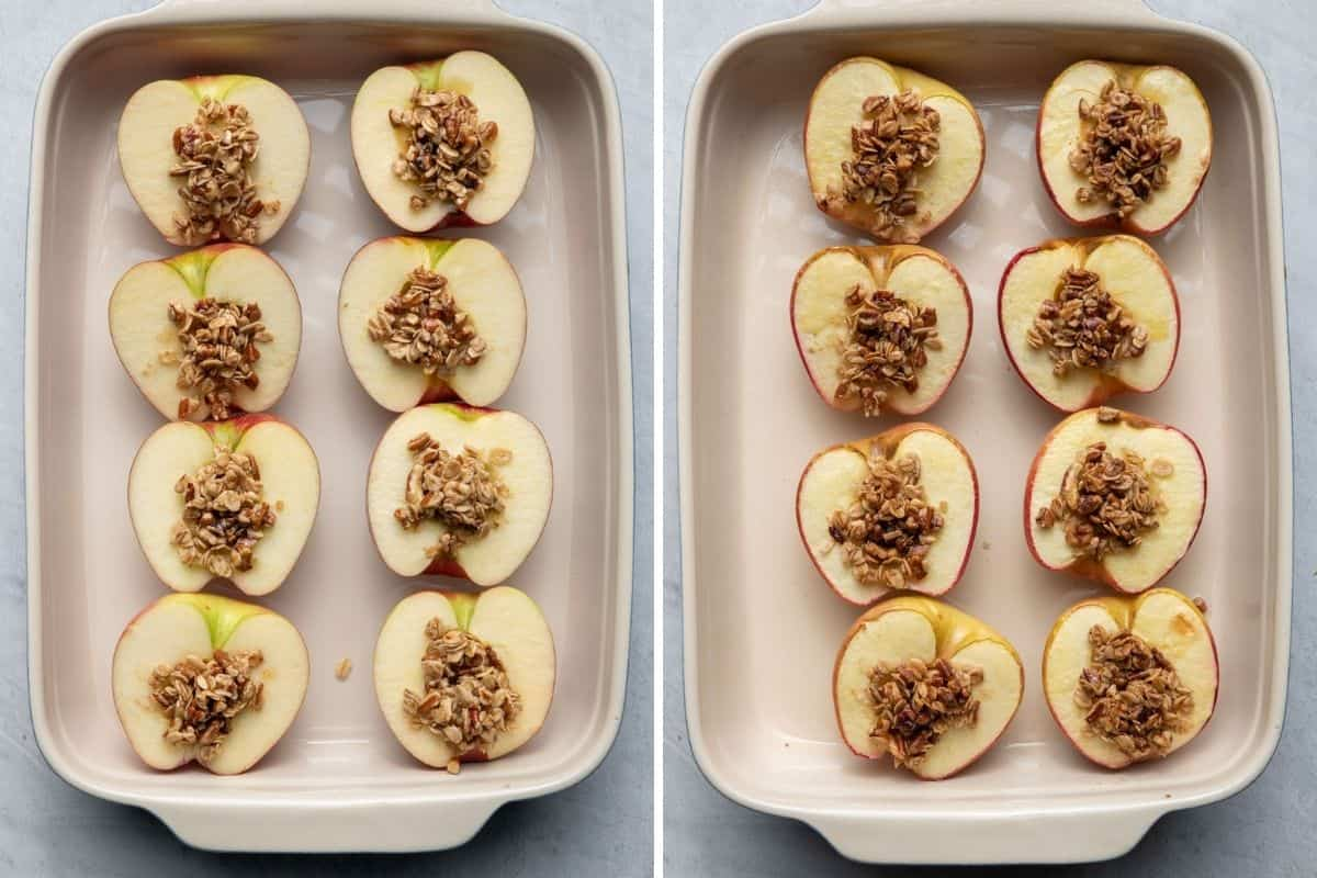 2 image collage to show the apples before and after baking