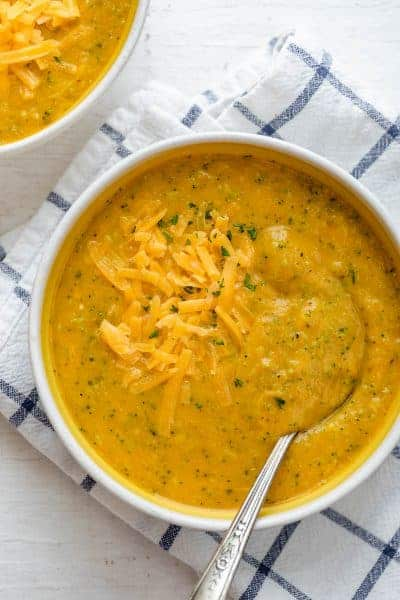 Healthy Broccoli and Cheese Soup in a brown bowl