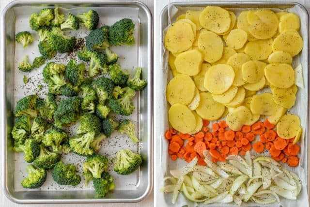 Collage of two images showing a tray of broccoli and a tray of potatoes, carrots and onions for roasting
