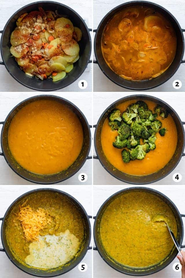 6 images showing the steps for making the soup all in one pot