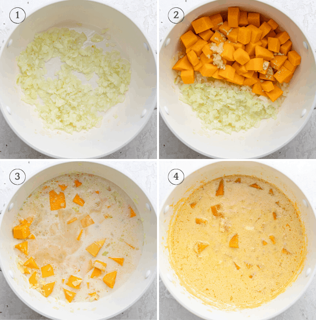 Step by step photos of how to make the recipe starting with the onions, then butternut squash, broth and milk