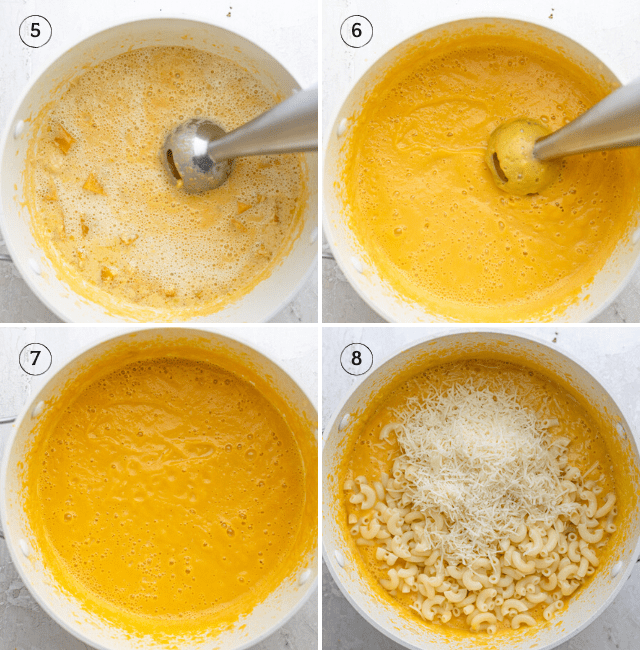 Continued step-by-step photos of the recipe showing how to blend it and then adding the cheese and pasta