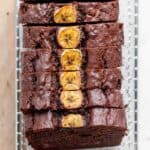 Chocolate Peanut Butter Banana Bread on wire rack all sliced