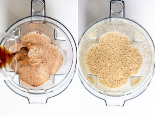 Collage of blender with ingredients before and after blending the homemade pumpkin spice latte