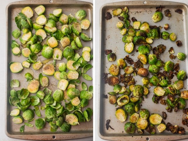 Collage showing roasting pan of brussel sprouts before and after roasting