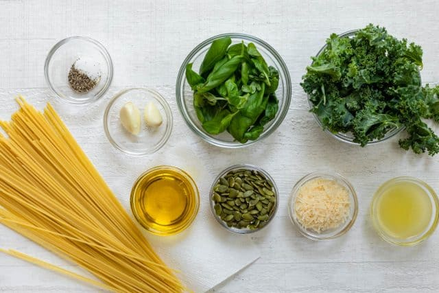 Ingredients to make the recipe all on a white board