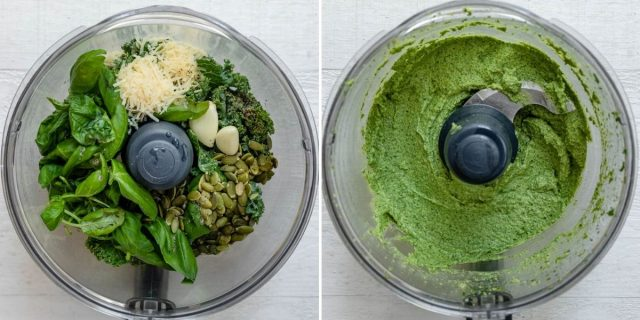 Two image collage of ingredients in blender before and after blending