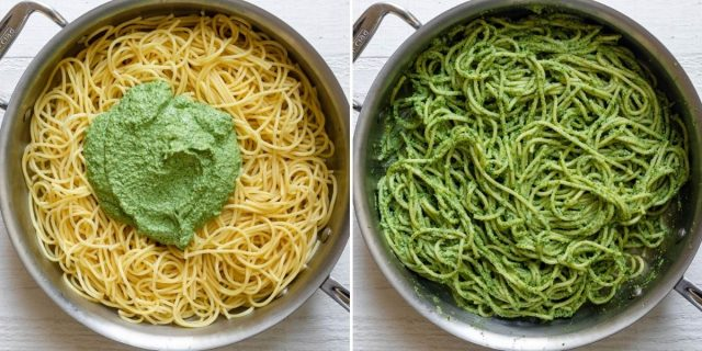 Two image collage of pasta with sauce on top before and after mixing