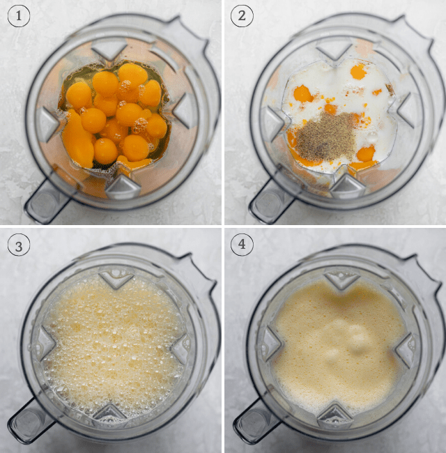 Four process shots to show how to mix the ingredients