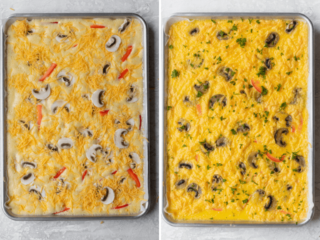 The sheet pan eggs before and after cooking