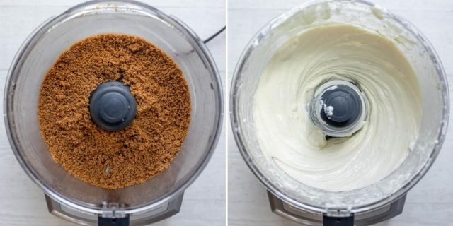 Two images side by side showing how to make the crust and how to make the filling