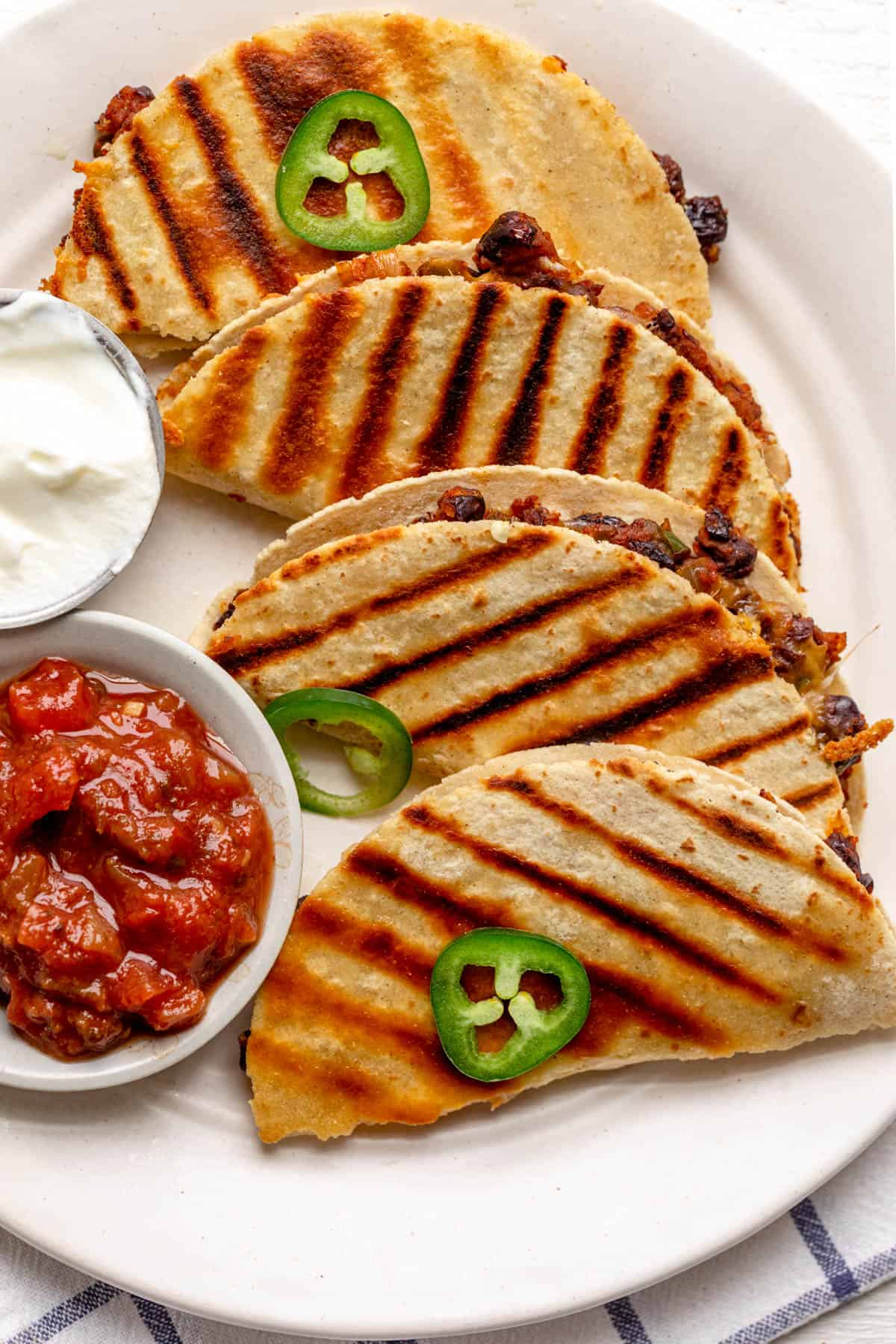 Close up shot of the quesadillas showing the grill marks