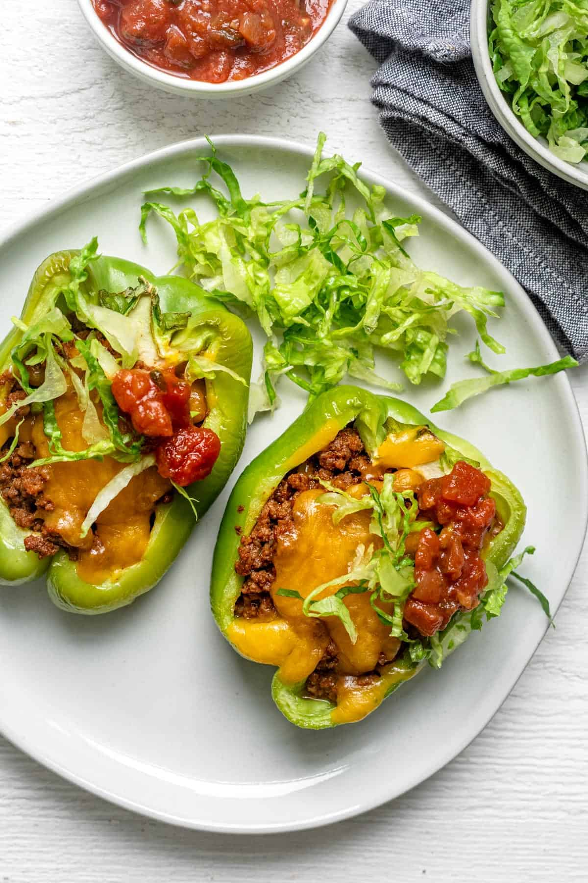 2 Taco Stuffed Peppers on a white dish