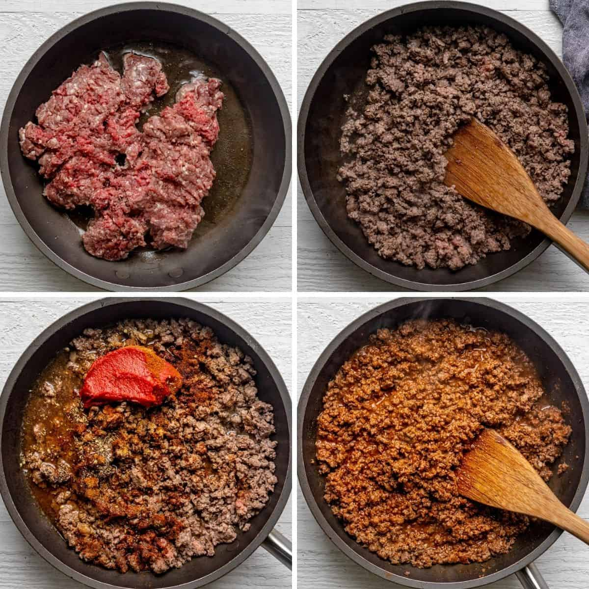 4 image collage to show how to make the taco meat in a skillet