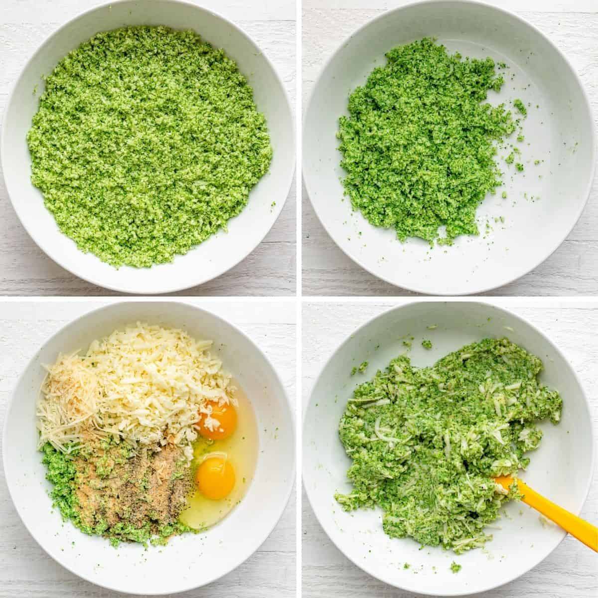 4 image collage to show how to make the recipe with broccoli, cheese, eggs and spices