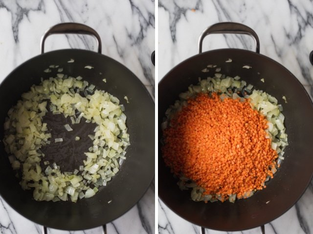 Collage of two images of a pot with onions and then red lentils added