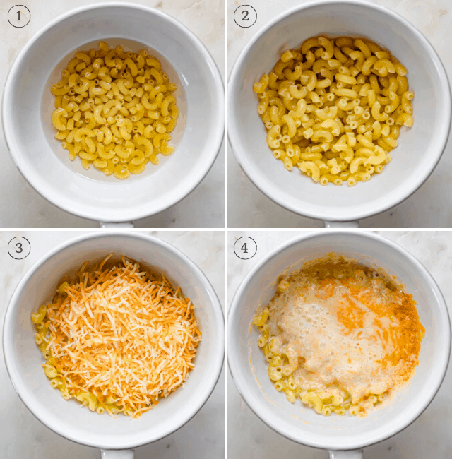 Step by step photos to show how to make microwave pasta