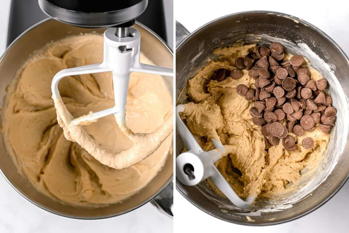 2 image collage to show the cookie dough in a stand mixer and then with the chocolate chips