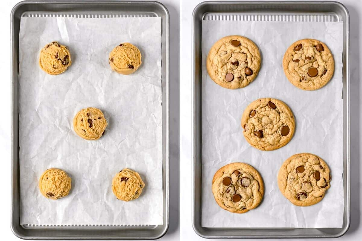 2 image collage to show the cookies before and after baking