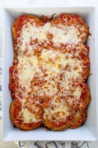 Eggplant parmesan when it comes out of the oven
