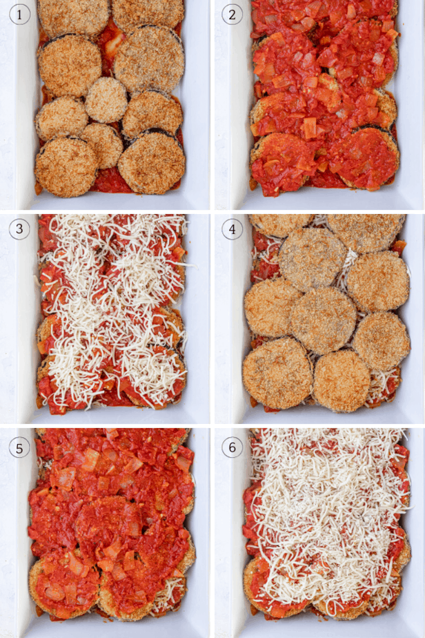 Process shots showing how to layer the baked eggplant parmesan