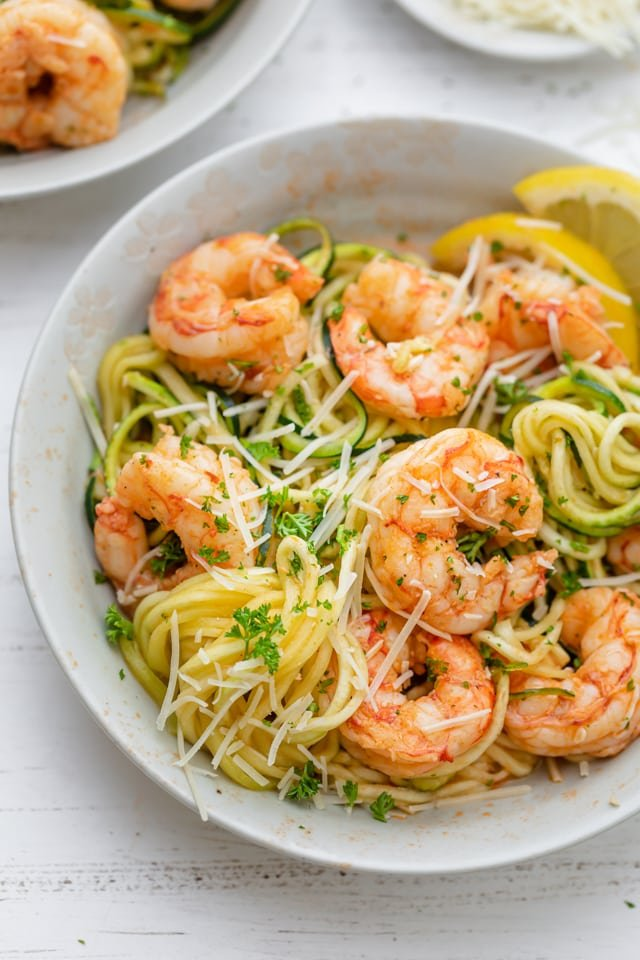 One plate of healthy shrimp scampi