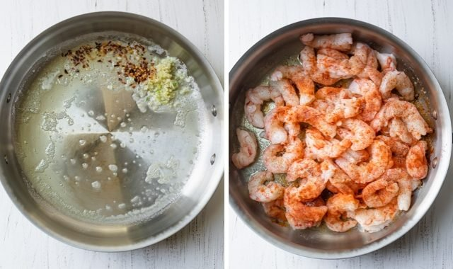 Collage of a pan with the olive oil, garlic and pepper and then adding the shrimp
