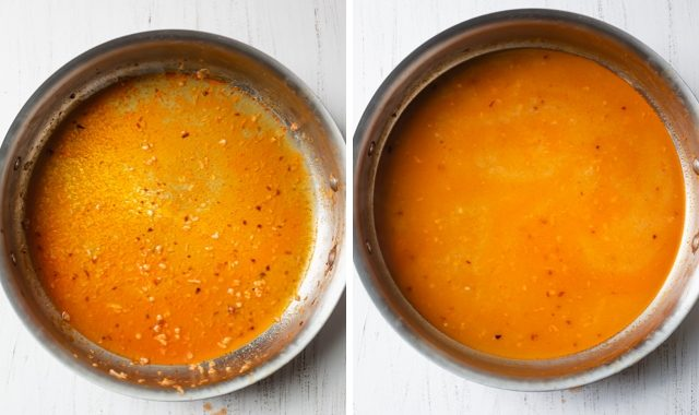 Collage of the sauce as it gets thicker