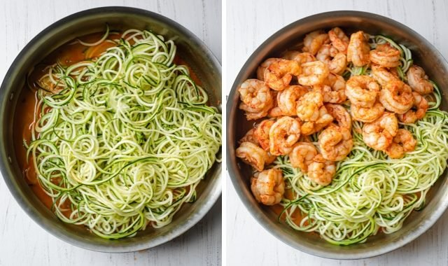 Collage of the noodles over the sauce, then the shrimp getting added to the noodles