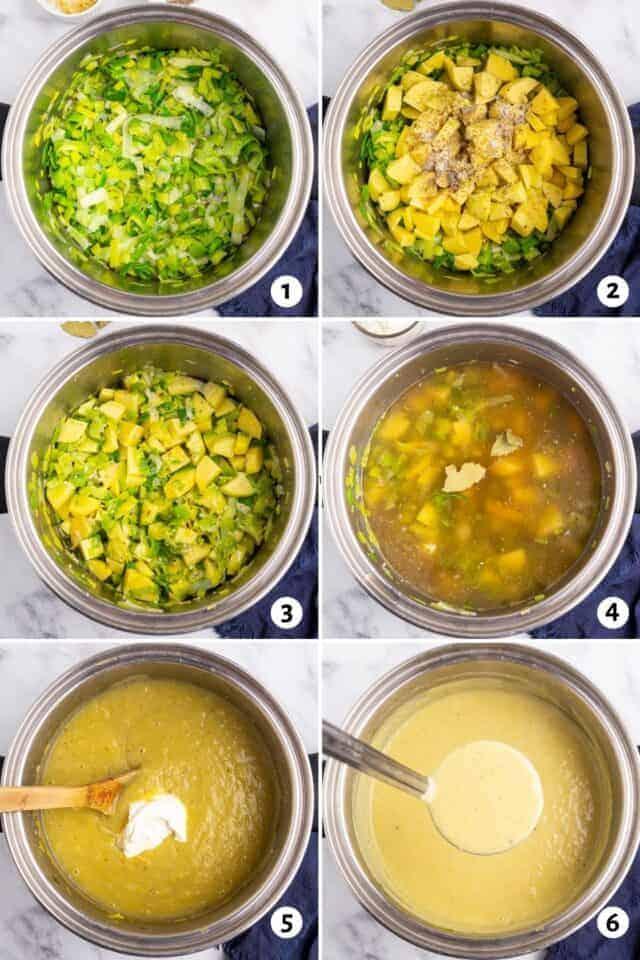 healthy potato leek soup in a white bowl next to a spoon