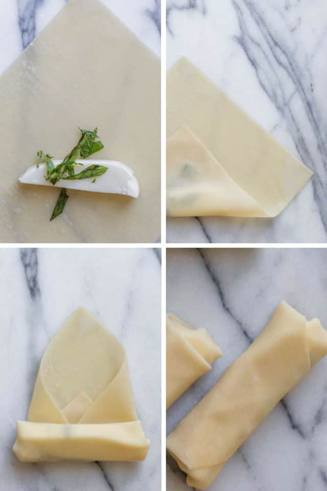 Grid showing the steps to fold zaatar spring rolls