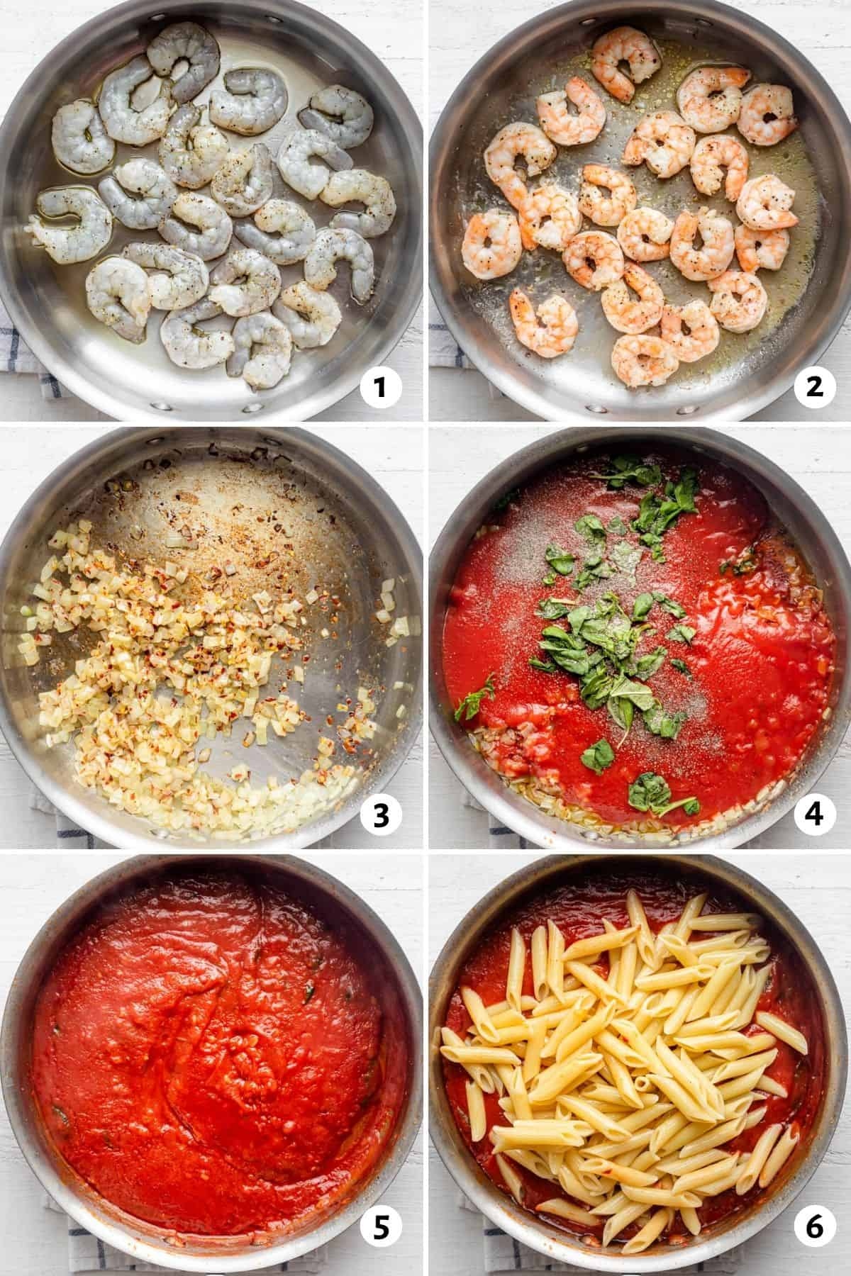 6 image collage to show how to make the recipe in one pan from the shrimp, to the sauce and finally adding in the pasta