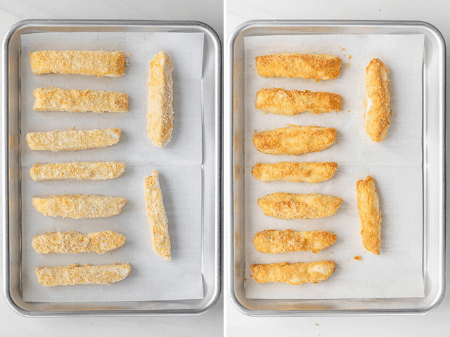 collage of halloumi fries before and after baking