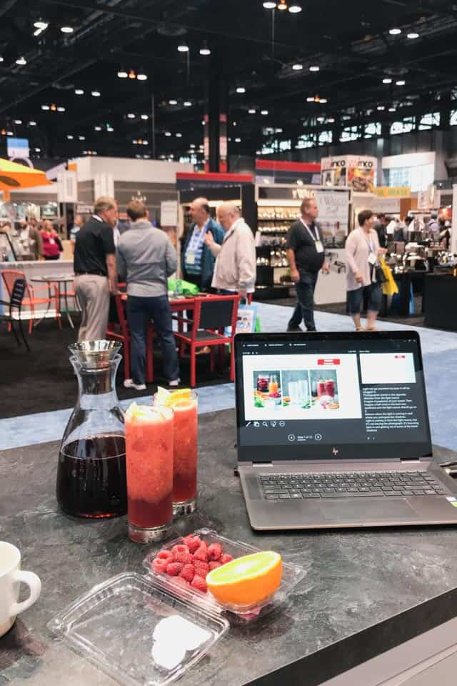Two tall glasses of Raspberry Iced Tea Smoothies prepared y Feelgoodfoodie during presenting on beverage styling at the 2018 National Restaurant Association Show.