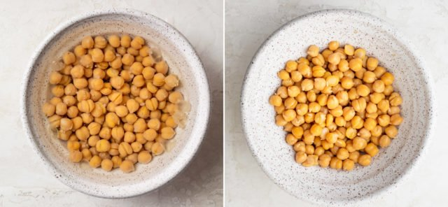 Process collage showing the chickpeas before and after removing the shell