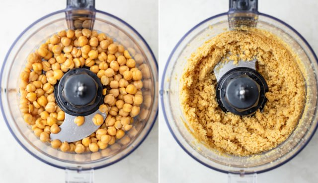 Process shots showing the chickpeas before and after grinding